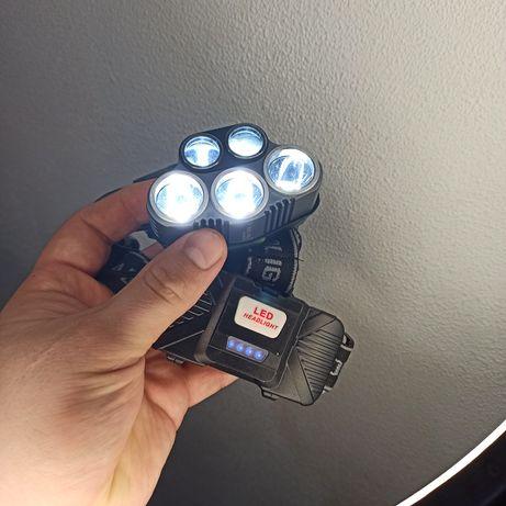 Мощный налобный фонарик 5 линз светодиодов на 2 батареи 18650