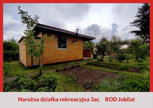 Atrakcyjna działka rekreacyjna, ROD Jubilat, nowy drewniany domek z wc