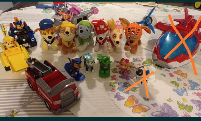 Psi patrol zestaw samolot pojazdy maskotki figurki