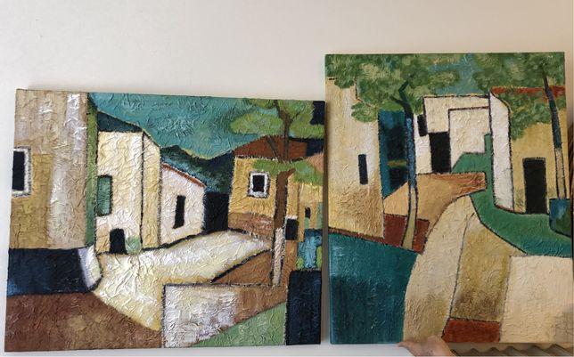 """Aldeia"""", 2 pinturas, acrílico sobre papel , em tela Dim: 54 x 65 cm"""