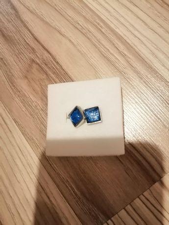 Kolczyki srebrne niebieskie