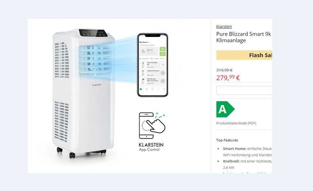Мобильный кондиционер WiFi Klarstein Pure Blizzard Smart   44 m² 9000