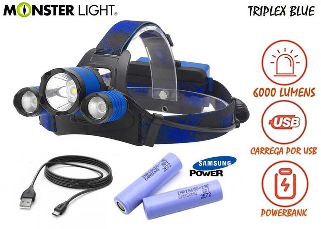 Kit lanterna cabeça MonsteLight Triplex Blue 6000 lumens