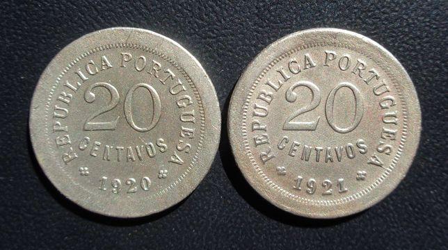 Par moedas 20 Centavos 1920/1921