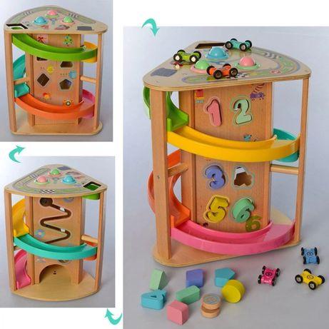 Деревянная развивающая игрушка трек, 3 в 1, трек/сортер/стус машинками