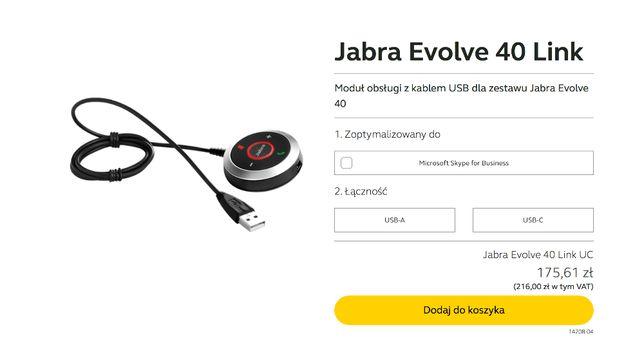 Moduł obsługi z kablem USB dla zestawu Jabra Evolve 40