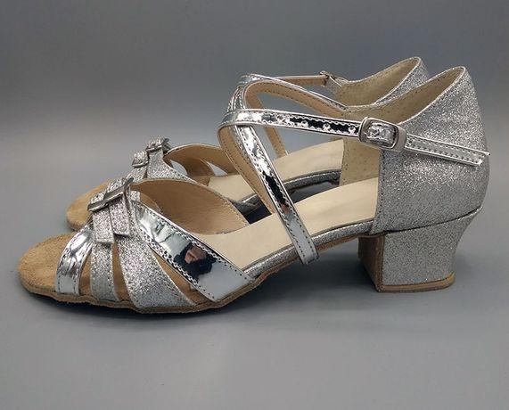 Серебристые бальные туфли для танцев, бальная обувь для девочек.
