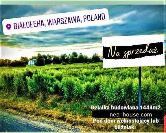 Białołęka ul. Mańkowska 1444m2 działka bud. z WZiZT pod blizniak.