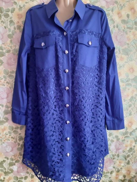 Платье рубашка синий электрик.л-хл  с вышитым кружевом