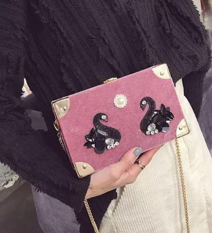 torebka mini BOX brudny róż różowa łabędzie