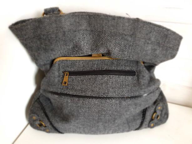 RESERVED torebka z tkaniny w szara jodelke