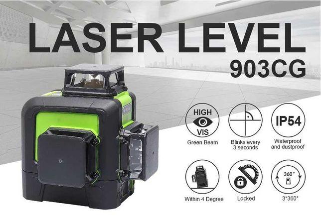 Лазерный 3D уровень Huepar HP-903CG нивелир зел луч  Green OSRAM diode