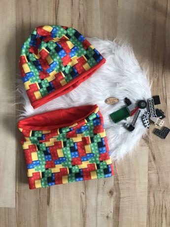 Nowy komplet handmade czapka i komin Lego klocki