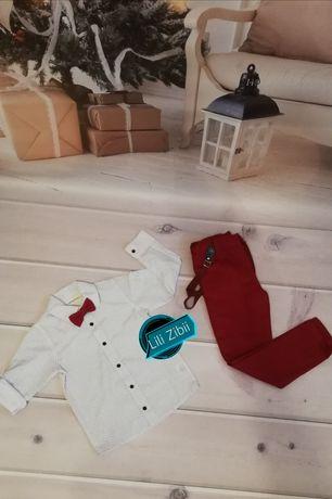 Zestaw świąteczny dla chłopca, koszula, muszka, spodnie Zara sesja