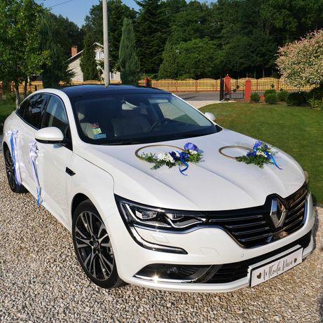 samochód do ślubu piękny RENAULT TALISMAN biała perła