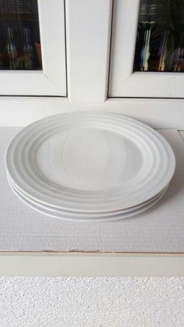 Talerz obiadowy duży biały trzy talerze