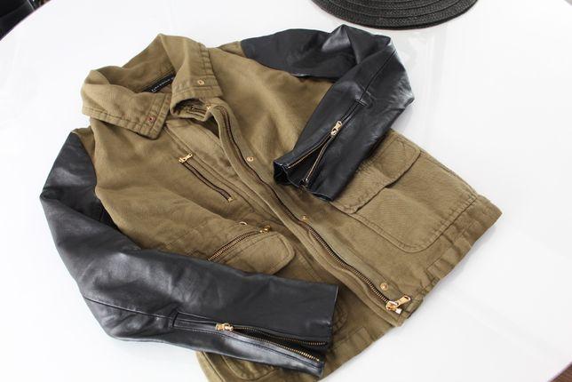 ZARA kurtka militarna khaki skórzane rękawy zielona 36 S