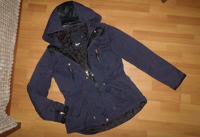 Красивая синяя куртка парка размер S 40-42