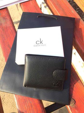 Кошелек calvin klein черный / портмоне мужское / подарочная упаковка