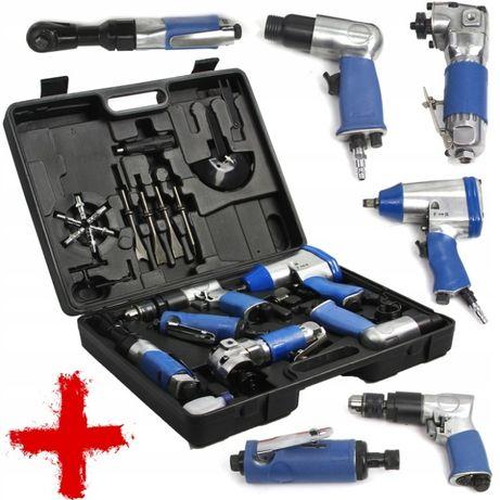 Zestaw narzędzi pneumatycznych klucz udarowy wiertarka szlifierka 24el