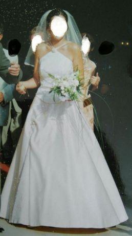 Suknia ślubna (gorset + spódnica + welon) w kolorze szampana r. 36