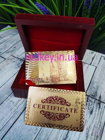 Игральные карты в подарочной шкатулке золотые пластиковые GOLD 500 Eur