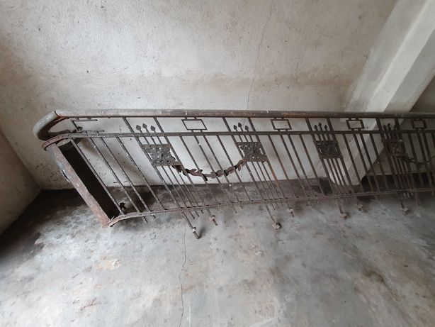 Antyk długa balustrada poręcz kuta stal drewno