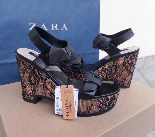 ZARA czarne skórzane buty sandałki koturny z koronką 37 sklep 299 zł
