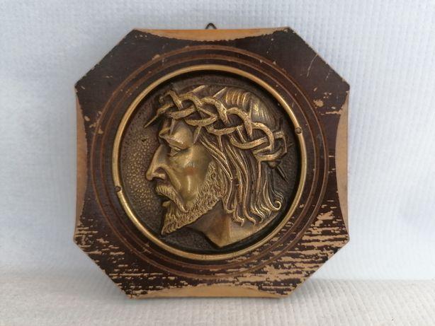 Stary mosiężny obrazek na desce twarz Jezusa polecam