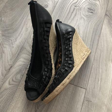 Czarne buty na koturnie 39, czarne sandaly Nine West, espadryle 39