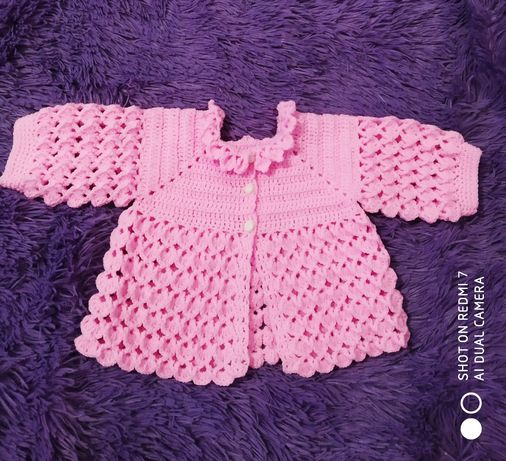 Детская вязаная розовая кофта