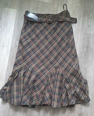 Spódnica krata z paskiem 42