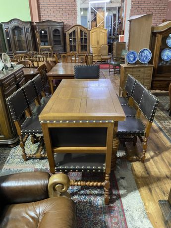 Stół rozkładany  + 6 krzeseł + 2 trony / antyki stylowy wegrow