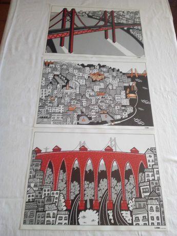 quadros impressos sem moldura  decorativos      lisboa-porto-coimbra