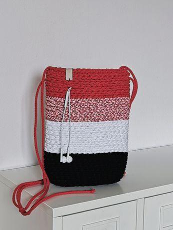 Torebka damska mała na ramię ze sznurka bawełnianego, handmade