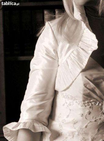 Wyjątkowa suknia ślubna ecru z koronkowym trenem - rozmiar 40