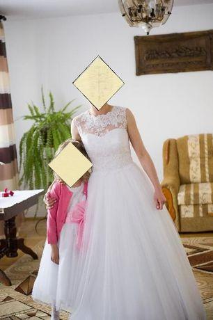 Suknia ślubna biała z koronką + gratisy