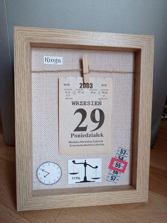 Kartka z kalendarza rok 2003 metryczka personalizowany prezent na 18