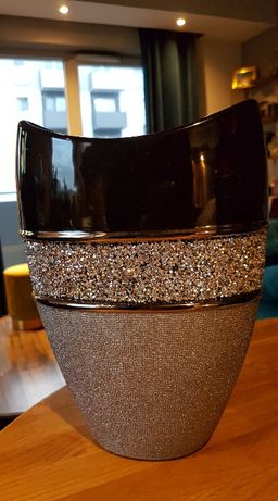 Wazon ceramiczny JOYCE dekorowany drobnymi kryształkami srebrno-czarny