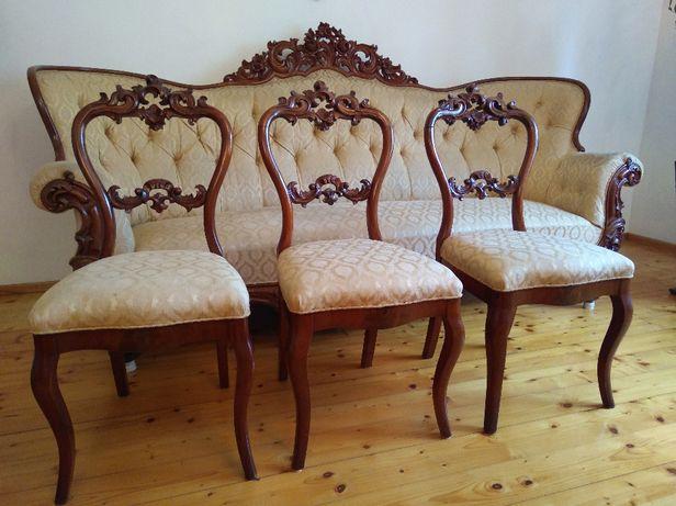 Sofa i 6 krzeseł w stylu Ludwika Filipa z II polowy XIX w.