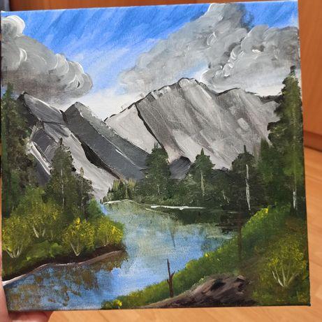 СРОЧНО Картина акрилом горы, озеро, пейзаж