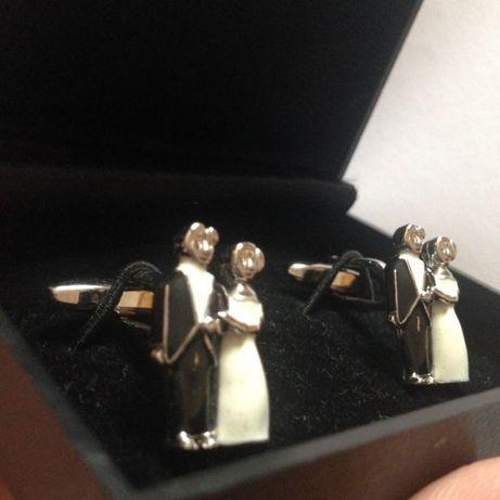 Оригинальные фигурные свадебные запонки