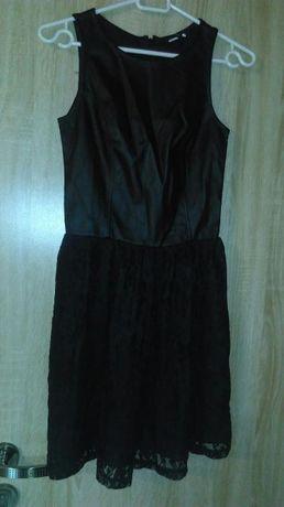Sukienka XS czarna eko skóra, koronka