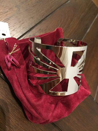 Bransoletka BIJOUX stal kolor srebrny średnica 6 cm NOWA