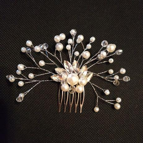 Ozdoba do włosów, spinka, ślub, dekoracja, elegancka, perły,