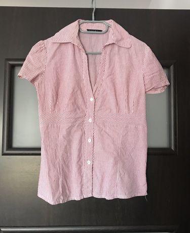 Koszula w paski pin up XL L czerowna biala