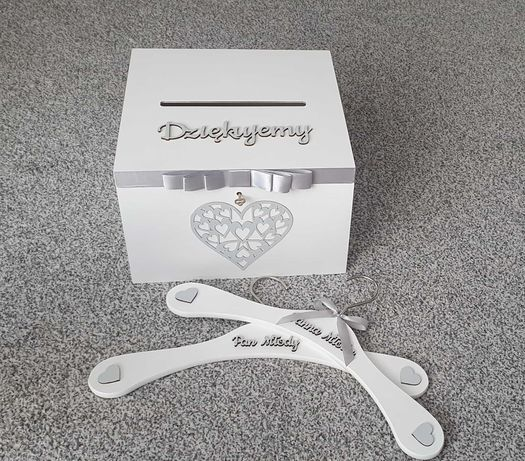 Pudełko na koperty+ wieszaki Panna Młoda Pan Młody+ topper