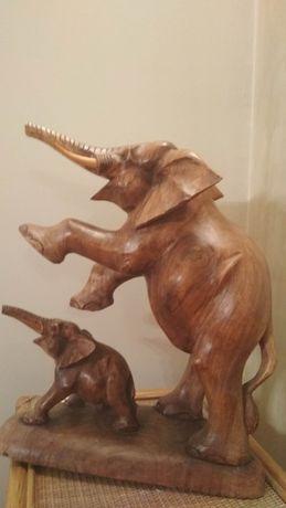Rzeźba z drewna SŁOŃ I SŁONIĄTKO