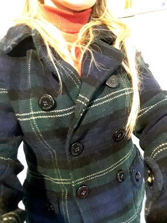 пальто в клетку короткое пальто на подростка или xs- S