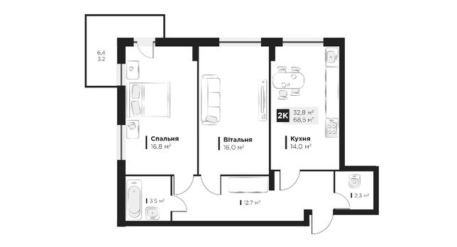 Продаж 2 кім. квартири в ЖК OBRIY2, Малоголосківська, площа 68 кв.м